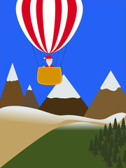 santa claus on  hot air balloon on mountains background.