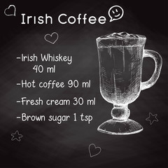 Simple recipe for an alcoholic cocktail Irish Coffee. Drawing chalk on a blackboard. Vector illustration of a sketch style.