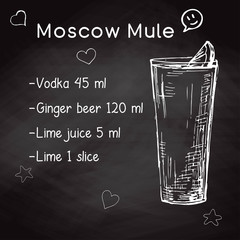 Simple recipe for an alcoholic cocktail Moscow Mule. Drawing chalk on a blackboard. Vector illustration of a sketch style.