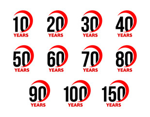 Anniversary sign set, black numbers with red abstract arc ribbon, birthday vector logo, business celebration icon collection.