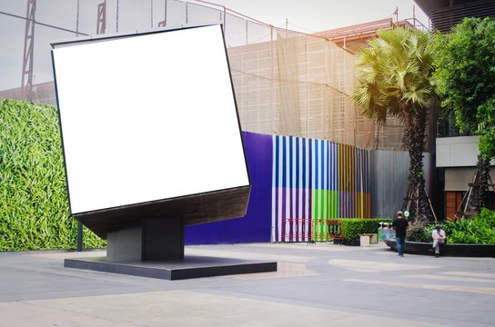 cube shaped blank showcase billboard or advertising light box for your text message or media content at open air shopping center, advertisement, commercial and marketing concept