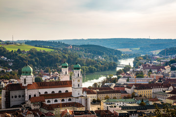 The German city of Passau on the banks of the Danube River