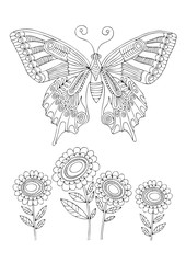 Butterfly and sunflowers. Hand drawn picture. Sketch for anti-stress adult coloring book in zen-tangle style. Vector illustration  for coloring page.