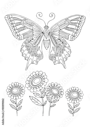 Butterfly And Sunflowers Hand Drawn Picture Sketch For Anti Stress Adult Coloring Book