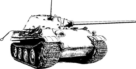 the tank is painted with ink on a white background