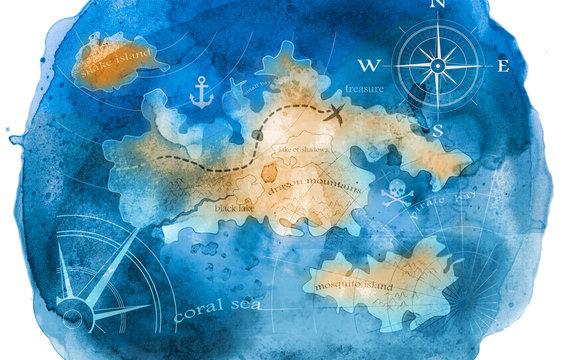 watercolor treasure map illustration