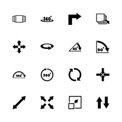 Rotate icons - Expand to any size - Change to any colour. Flat Vector Icons - Black Illustration on White Background.
