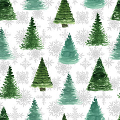 Seamless pattern with fir tree and snowflakes. Watercolor hand drawn