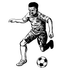 Hand drawing of Soccer Player kicking a ball