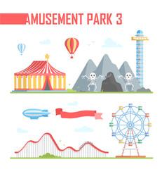 Set of amusement park elements - modern vector illustration