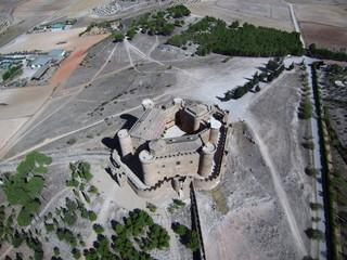 Belmonte, poblacion historica de Cuenca (Castilla la Mancha, España). Fotografia aerea con Drone