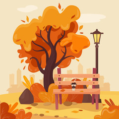 Autumn park with bench, coffee, falling leaves, tree and lantern.