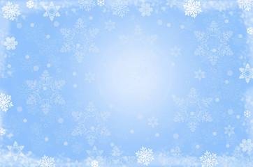 Белые снежинки на голубом фоне.