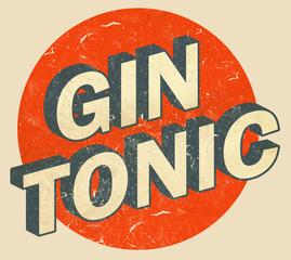 Gin Tonic Logo Retro Style Vintage