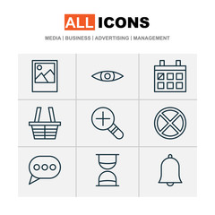 Internet Icons Set. Includes Icons Such As Message Bubble, Exit, Bell And Other.