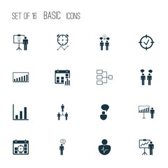 Management Icons Set. Includes Icons Such As Planning, Special Demonstration, Solution Demonstration And Other.