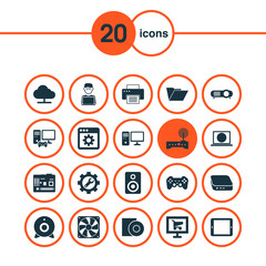 Device Icons Set. Includes Icons Such As Palmtop, Software, Online Market And Other.