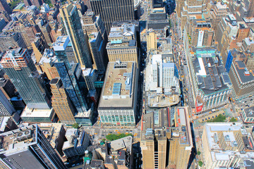 Manhattan, New York City: bird eye/aerial view of the city midtown buildings and streets