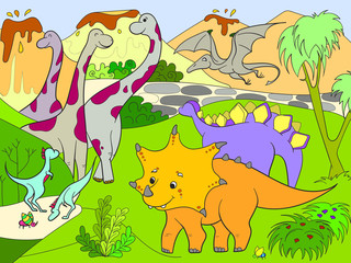 Cartoon for children dinosaurs in nature