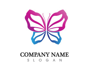 Vector - Butterfly conceptual simple, colorful icon. Logo. Vector illustration
