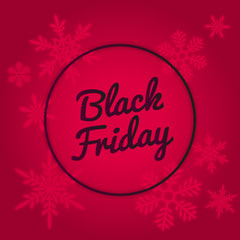 Black Friday Sale Vector Banner Design. Red neon colors, glowing snowflakes.