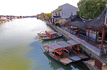 "Zhujiajiao Ancient Town,  is an ancient water village also known as the ""pearl stream."" Best known for its bridges, built during Ming and Qing Dynasty. Shanghai, China"