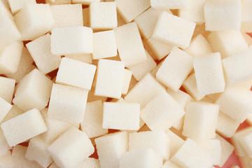 White sugar cubes background