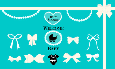 a set of vector design elements for a tiffany style party white bows beads