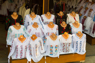 Sale of traditional embroidered clothes in Bukovina, Romania