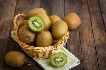 Fresh kiwi fruit in the basket