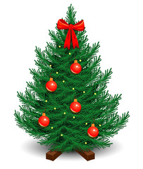 artificial Christmas tree on a stand, decorated with red balls and bow with a garland of glowing light bulbs