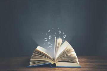 open musical notes book