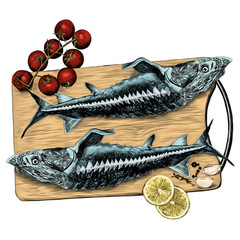 sturgeon fish on a cutting Board with tomatoes lemon and garlic sketch vector graphics color picture