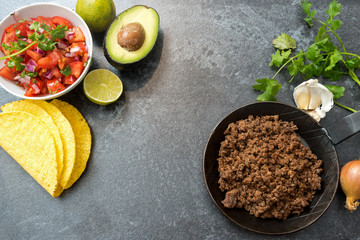 taco ingredients with roasted beef, tomatoe salsa, avocado and herbs on a dark stone background, copy space, top view from above