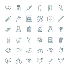 Medical and healthcare outline style vector icons set
