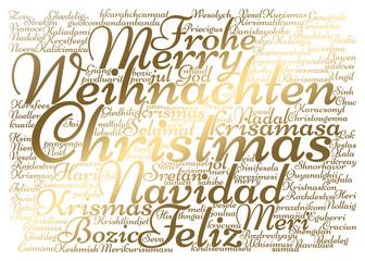 goldene Weihnachtskarte in verschiedenen Sprachen