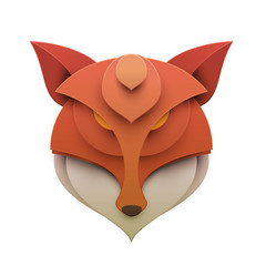 Fox head in trendy paper cut craft graphic style. Modern design for advertising, branding greeting card, cover, poster, banner. Vector illustration.