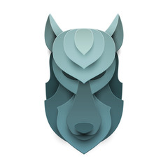 Dog or wolf head in trendy paper cut craft graphic style. Modern design for advertising, branding greeting card, cover, poster, banner. Vector illustration.