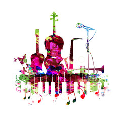 Music poster with music instruments vector illustration. Colorful music background with piano keyboard, guitar, violoncello, saxophone, trumpet and microphone. Music concert poster