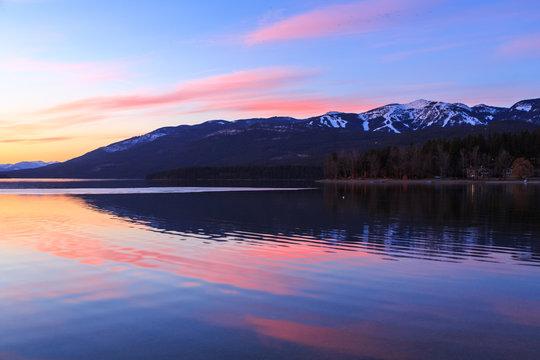 Ski Mountain Lake Sunset
