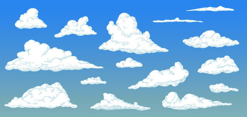 Cartoon clouds on day sky in vintage retro style. Vector illustration.