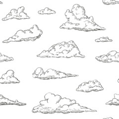 Seamless pattern clouds in hand drawn vintage retro style isolated on white background. Cartoon design elements. Vector illustration.