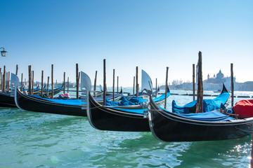 Venice Italy - Close up of gondola boat afloating