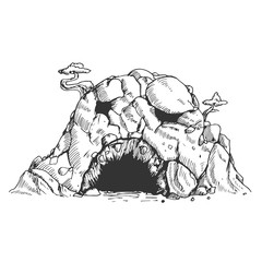 Sinister cave in hand drawn vintage style. Sketch vector illustration isolated on white background.