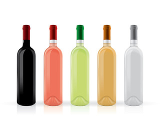transparent bottles of wine mock up vector template