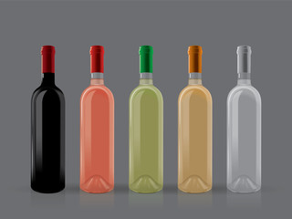 transparent bottles of wine on a dark background