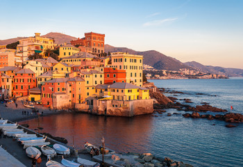 Boccadasse, a small sea district of Genoa, during the golden hour