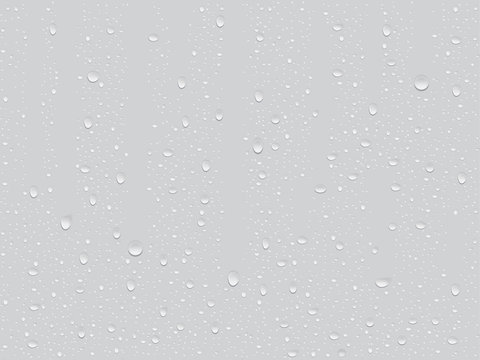 transparent drop on a gray background