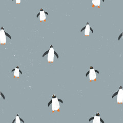 Vector seamless graphic pattern with penguins and grunge texture and snow on background. For placards, brochures, posters, greeting cards, fabrics.