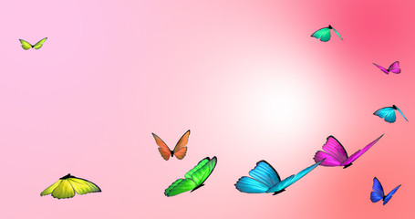 Butterflies on a soft pink background. Digitally generated illustration.